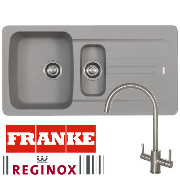 Franke Aveta 1.5 Bowl Stone Grey Tectonite Kitchen Sink And Reginox Genesis Tap