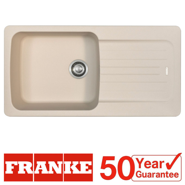 Franke Aveta 1.0 Bowl Cream Tectonite Reversible Kitchen Sink &Basket Waste Kit