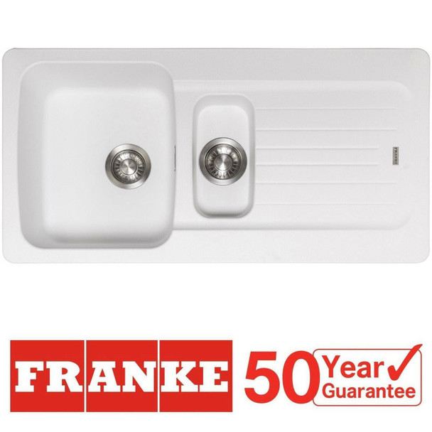 Franke Aveta 1.5 Bowl Ice White Tectonite Reversible Kitchen Sink And Waste Kit
