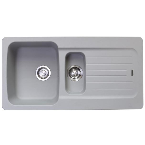 Franke Aveta 1.5 Bowl Stone Grey Tectonite Reversible Kitchen Sink And Waste kit
