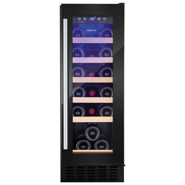 Amica AWC300BL 30cm Black Free Standing Under Counter LED 19 Bottle Wine Cooler