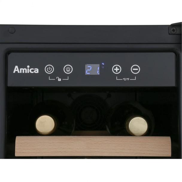 Amica AWC300BL 30cm Black Free Standing Under Counter LED 19 Bottle Wine Cooler