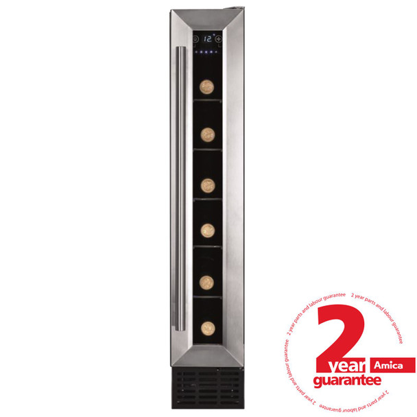 Amica AWC150SS 15cm Stainless Steel Free Standing Under Counter LED Wine Cooler
