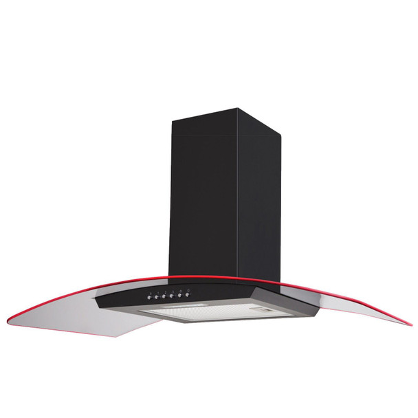 SIA 100cm Black 3 Colour LED Edge Lit Curved Glass Cooker Hood Fan & 1m Ducting