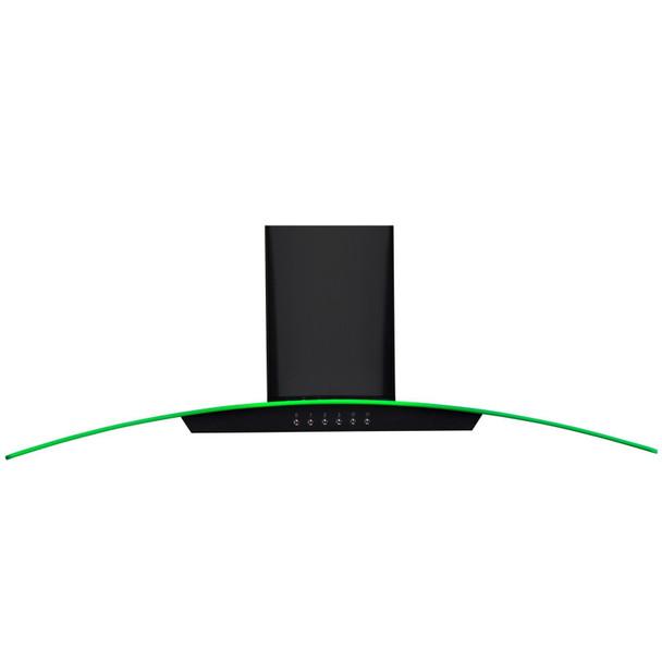 SIA 100cm Black 3 Colour LED Edge Lit Curved Glass Cooker Hood Fan &3m Ducting