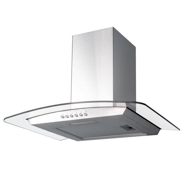 SIA 70cm Stainless Steel 3 Colour LED Curved Glass Cooker Hood &1m Ducting Kit