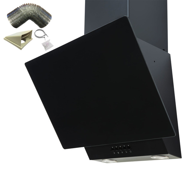 SIA EAG71BL Black 70cm Angled Glass Chimney Cooker Hood Kitchen & 1m Ducting Kit