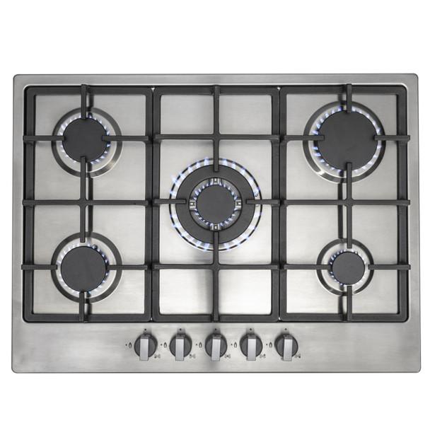 SIA 60cm Black Double Built In Oven, 70cm 5 Burner Gas Hob & Chimney Cooker Hood