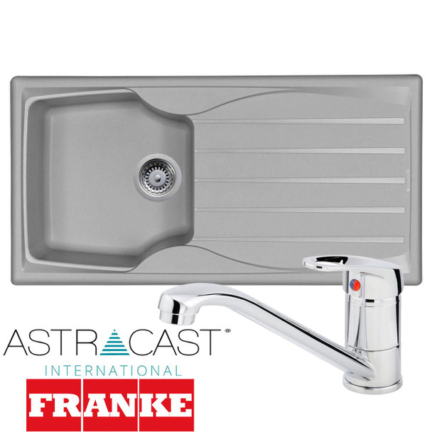 Astracast Sierra 1 Bowl Light Grey Composite Kitchen Sink And Chrome Mixer Tap