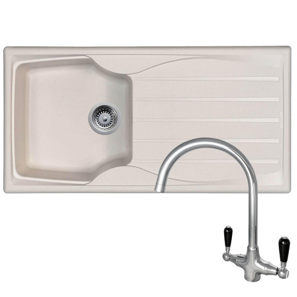 Astracast Sierra 1 Bowl Cream Kitchen Sink And Reginox Brooklyn Chrome Mixer Tap