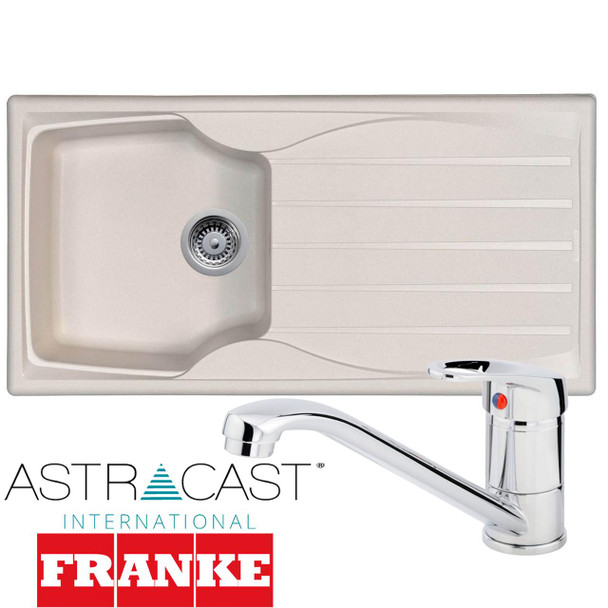 Astracast Sierra 1.0 Bowl Cream Composite Kitchen Sink & Zeno Chrome Mixer Tap