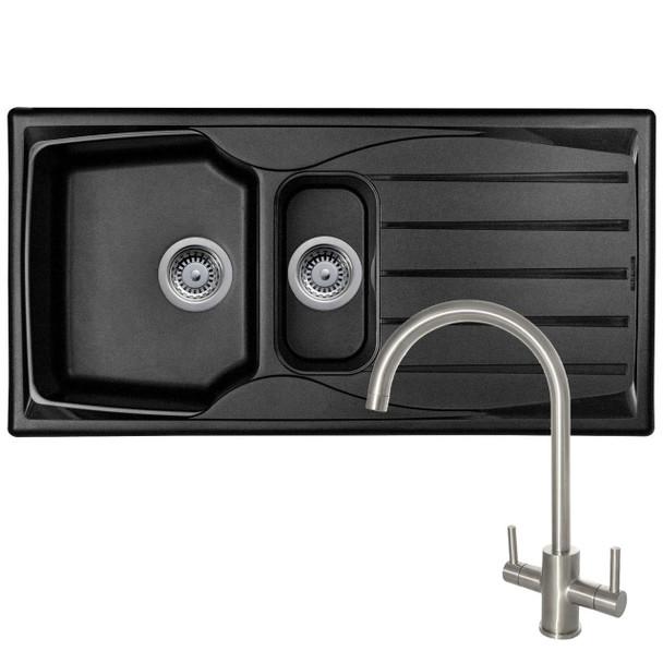 Astracast Sierra 1.5 Bowl Black Kitchen Sink And Reginox Brushed Steel Mixer Tap