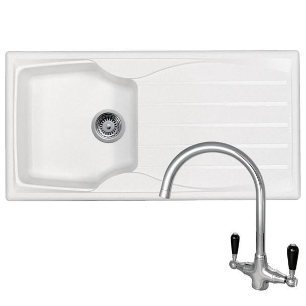 Astracast Sierra 1.0 Bowl White Kitchen Sink &Reginox Brooklyn Chrome Mixer Tap