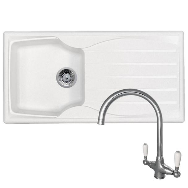 Astracast Sierra 1.0 Bowl White Kitchen Sink And Reginox Elbe Chrome Mixer Tap