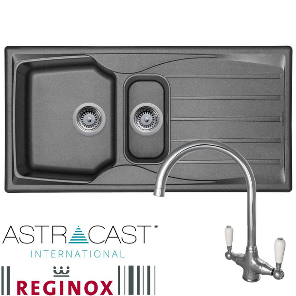 Astracast Sierra 1.5 Bowl Graphite Grey Kitchen Sink And Reginox Elbe Mixer Tap