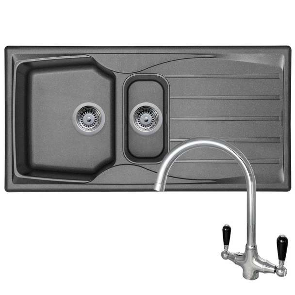Astracast Sierra 1.5 Bowl Graphite Grey Kitchen Sink And Reginox Brooklyn Tap