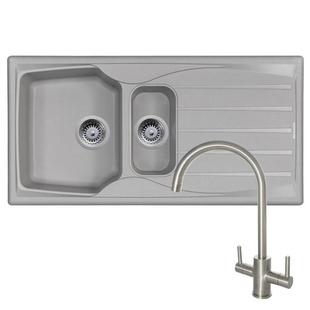 Astracast Sierra 1.5 Bowl Light Grey Kitchen Sink And Reginox Brushed Steel Tap
