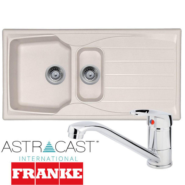 Astracast Sierra 1.5 Bowl Cream Kitchen Sink And Franke Zeno Chrome Mixer Tap