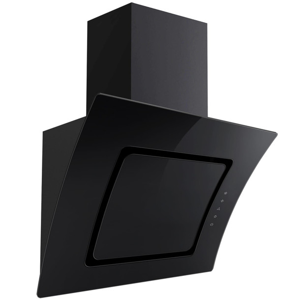 SIA 60cm Black Touch Control Angled Curved Glass Cooker Hood Extractor Fan