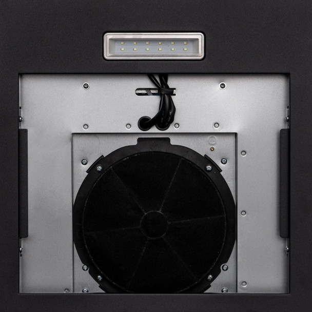 SIA 60cm Black 3 Colour LED Edge Curved Glass Cooker Hood Fan And Carbon Filter