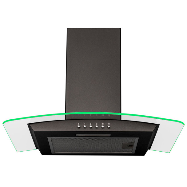SIA 60cm Black 3 Colour LED Edge Curved Glass Cooker Hood Fan And 1m Ducting Kit