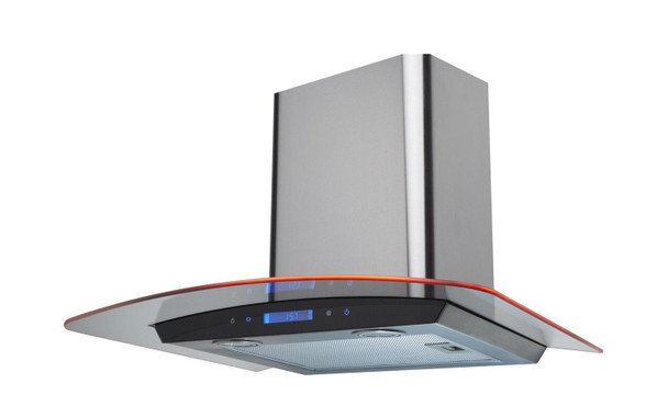 SIA 60cm Stainless Steel Touch Control LED Curved Glass Cooker Hood + 3m Ducting
