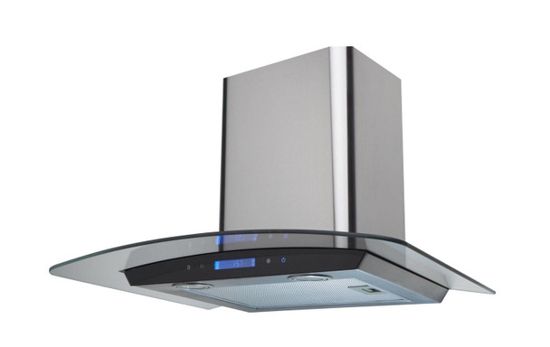 SIA 60cm Stainless Steel Touch Control LED Curved Glass Cooker Hood + 1m Ducting