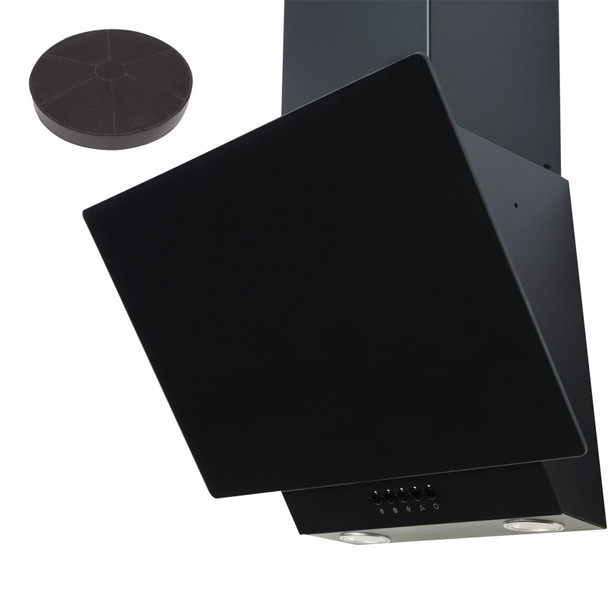 SIA EAG61BL 60cm Black Angled Chimney Cooker Hood Extractor Fan And Filter