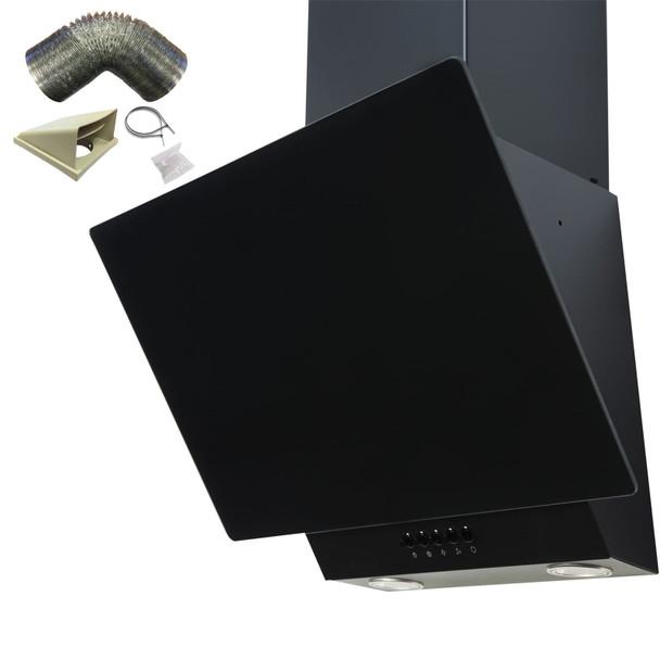 SIA EAG61BL 60cm Black Angled Chimney Cooker Hood Extractor Fan & 1m Ducting Kit