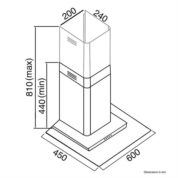 SIA FL61SS 60cm Stainless Steel Flat Glass Chimney Cooker Hood Extractor Fan
