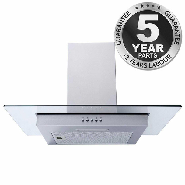 SIA FL61SS 60cm Stainless Steel Flat Glass Chimney Cooker Hood Extractor Fan