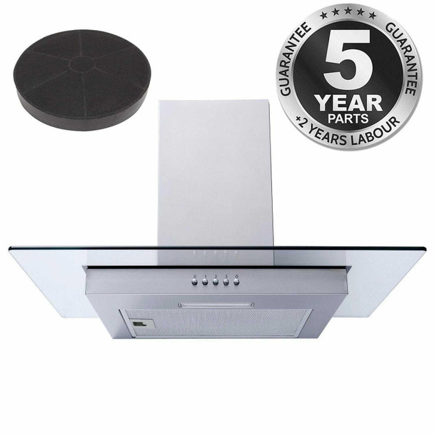 SIA FL61SS 60cm Stainless Steel Flat Glass Chimney Cooker Hood &Charcoal Filter