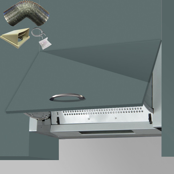 SIA INT60SS 60cm Silver Integrated Built In Kitchen Cooker Hood And 1m Ducting