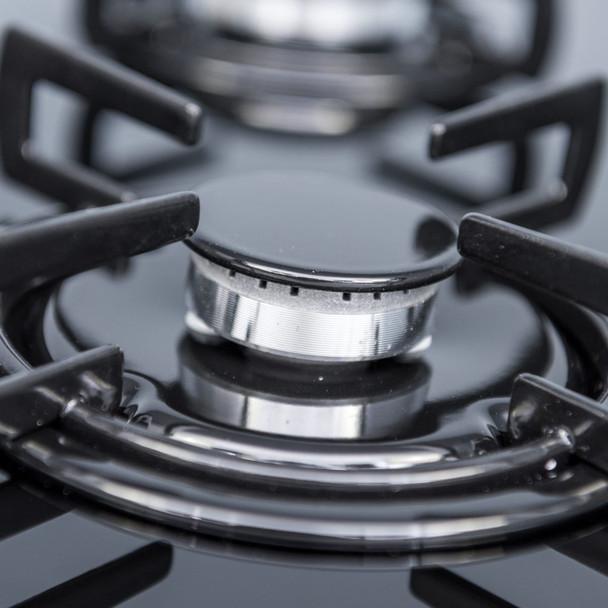 SIA 60cm Black 4 Burner Gas On Glass Hob And Pyramid Chimney Cooker Hood Fan