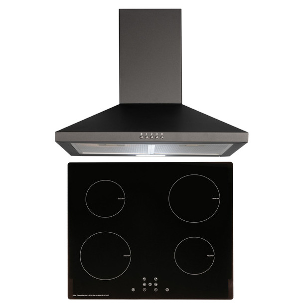 SIA 60cm Black 4 Zone Touch Control Induction Hob &Cooker Hood Extractor Fan