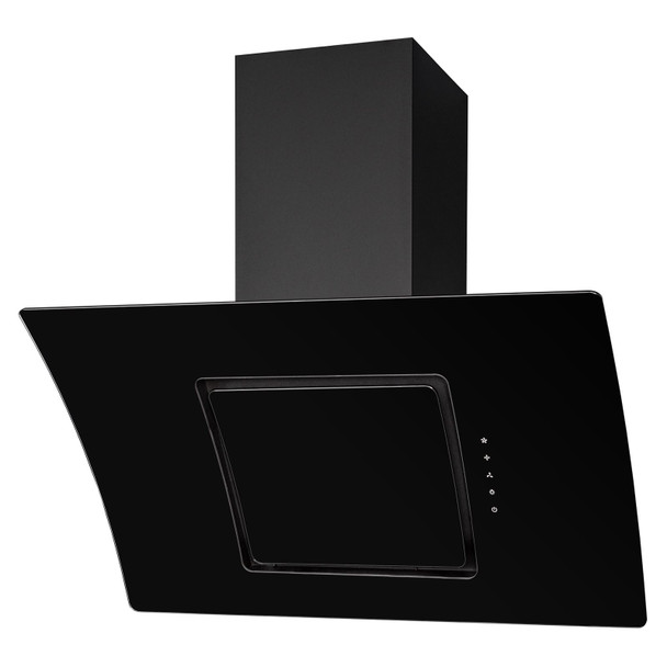SIA 90cm Black Glass 5 Zone Induction Hob &Curved Angled Cooker Hood Extractor