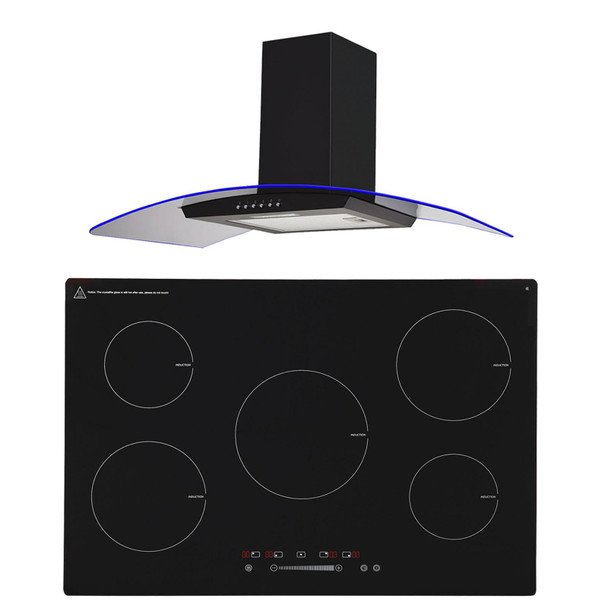 SIA 90cm Black 5 Zone Touch Control Induction Hob & Curved Glass Cooker Hood Fan