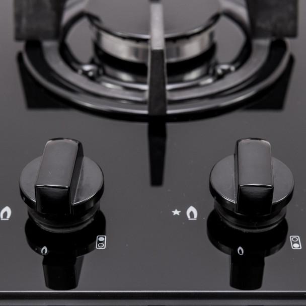 SIA GHG301BL 30cm Black 2 Burner Gas on Glass Domino Hob &Cast Iron Stands