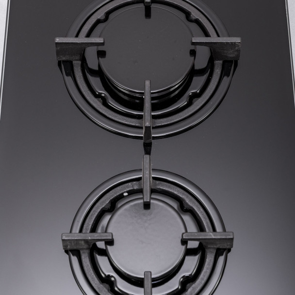 SIA GHG301BL 30cm Black 2 Burner Gas on Glass Domino Hob &Cast Iron Stands