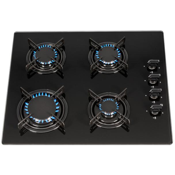 SIA GHG612BL 60cm Black 4 Burner Gas On Glass Hob With Enamel Pan Stands &FFD