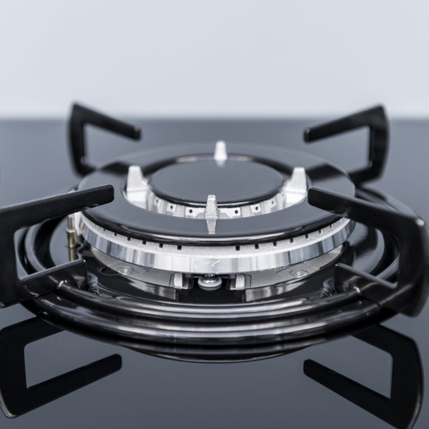 SIA GHG713BL 70cm Black 5 Burner Gas On Glass Hob With Enamel Pan Stands &FFD
