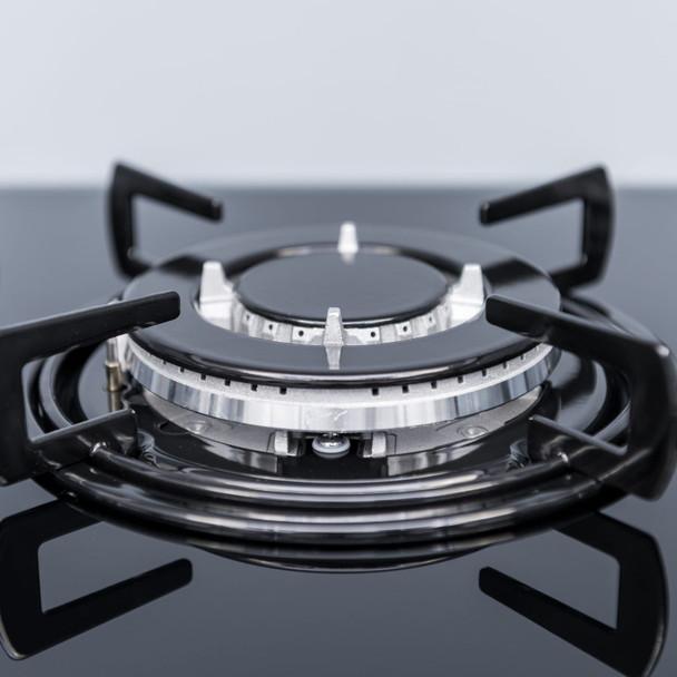 SIA GHG713BL 70cm Black 5 Burner Gas On Glass Hob With Enamel Pan Stands &FFD