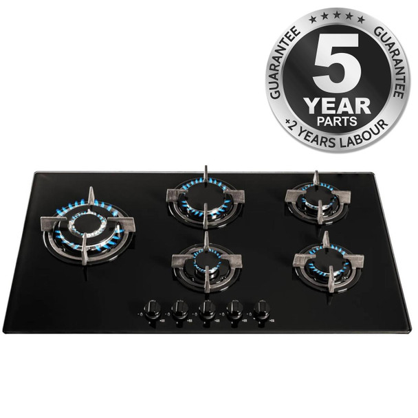 SIA GHG902BL 90cm Black 5 Burner Gas On Glass Hob With Cast Iron Pan Stands