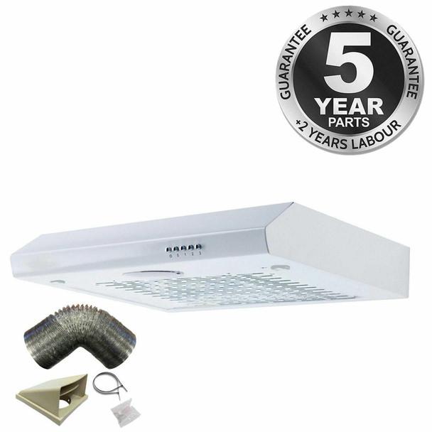 SIA STH60WH 60cm White Slimline Visor Cooker Hood Kitchen Fan And 3m Ducting Kit
