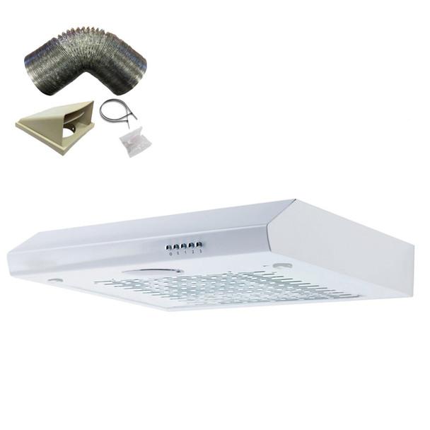 SIA STH60WH 60cm White Slimline Visor Cooker Hood Kitchen Fan And 1m Ducting Kit