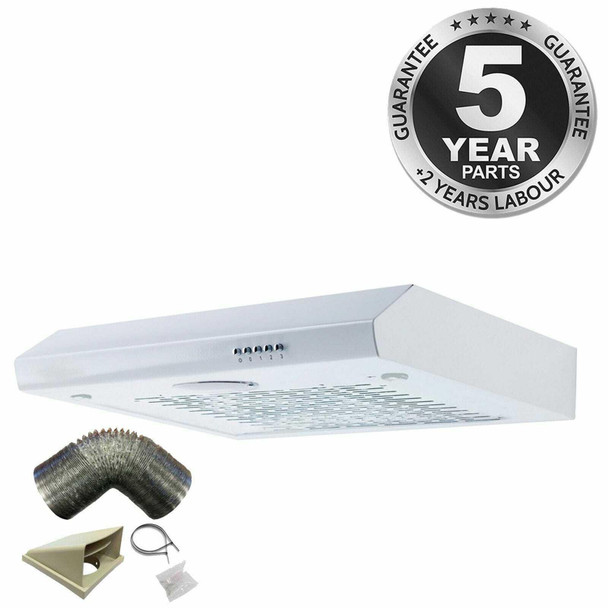 SIA STH60WH 60cm White Slimline Visor Cooker Hood Kitchen Fan And 1m Ducting Kit