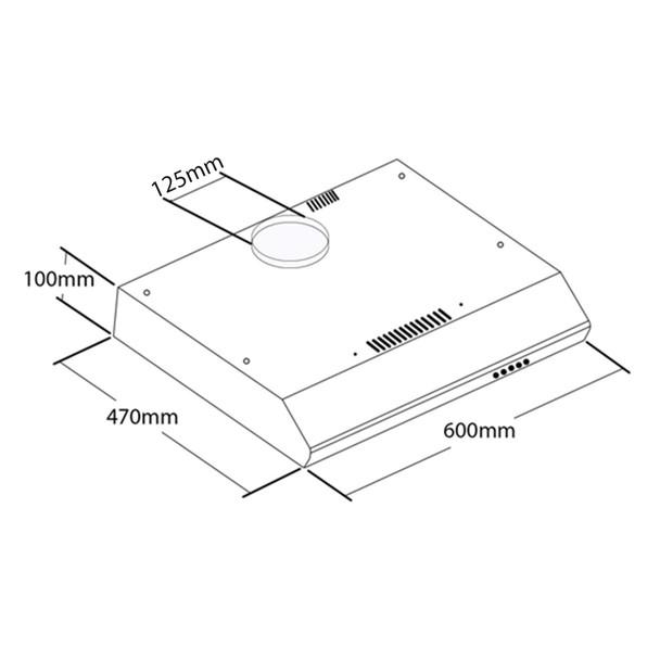 SIA STH60BL 60cm Black Slimline Visor Cooker Hood Kitchen Fan And 3m Ducting Kit