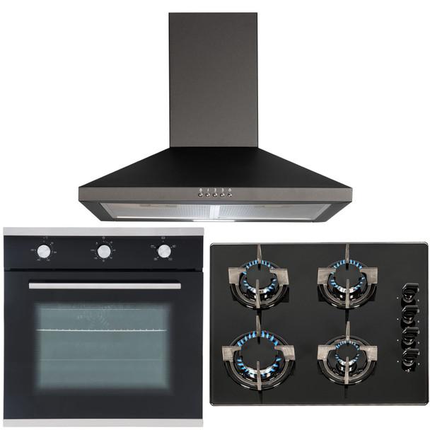 SIA 60cm Black Electric Single True Fan Oven, 4 Burner Gas Hob And Cooker Hood