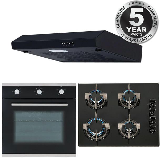 SIA 60cm Black Electric Single Fan Oven, 4 Burner Gas Hob And Visor Cooker Hood