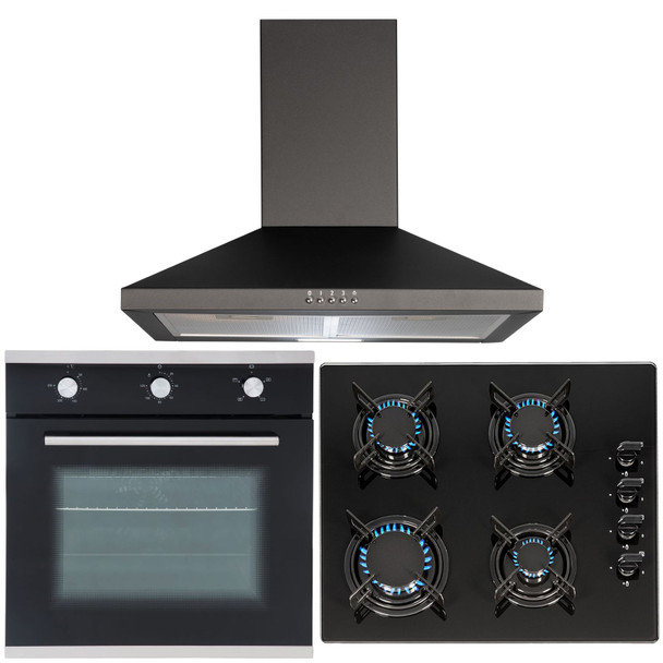 SIA 60cm Black Built In Electric Single Fan Oven, 4 Burner Gas Hob &Cooker Hood
